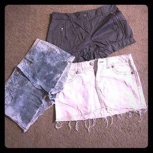 Pants - Name brand(s) Shorts and a miniskirt